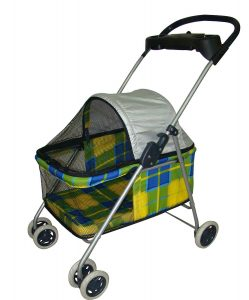 BestPet Yellow Plaid Pet Stroller